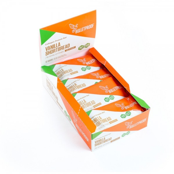 Bulletproof Vanilla Shortbread Collagen Protein Bar (12er Pack)
